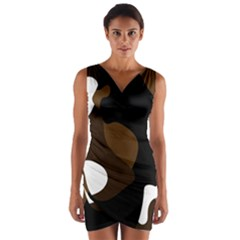 Black Brown And White Abstract 3 Wrap Front Bodycon Dress