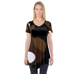 Black Brown And White Abstract 3 Short Sleeve Tunic