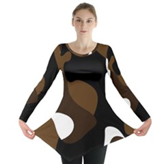 Black Brown And White Abstract 3 Long Sleeve Tunic