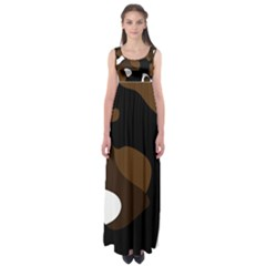 Black Brown And White Abstract 3 Empire Waist Maxi Dress