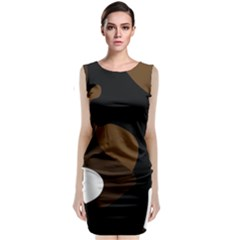 Black Brown And White Abstract 3 Classic Sleeveless Midi Dress