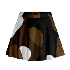 Black Brown And White Abstract 3 Mini Flare Skirt