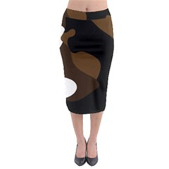Black Brown And White Abstract 3 Midi Pencil Skirt