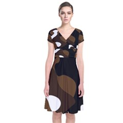 Black Brown And White Abstract 3 Short Sleeve Front Wrap Dress