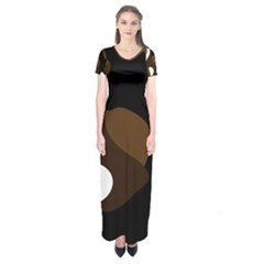 Black Brown And White Abstract 3 Short Sleeve Maxi Dress
