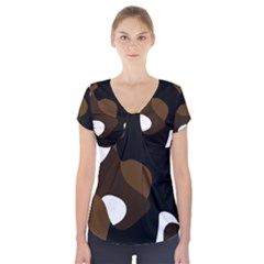 Black Brown And White Abstract 3 Short Sleeve Front Detail Top