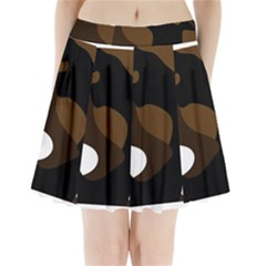 Black Brown And White Abstract 3 Pleated Mini Mesh Skirt