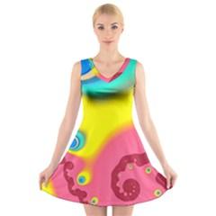 Distinction V-Neck Sleeveless Skater Dress