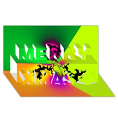 Creation Of Color Merry Xmas 3d Greeting Card (8x4)