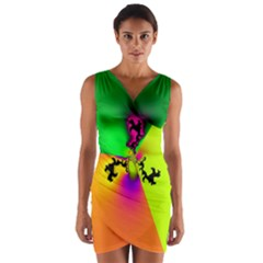 Creation Of Color Wrap Front Bodycon Dress