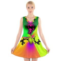 Creation Of Color V Neck Sleeveless Skater Dress