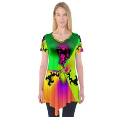 Creation Of Color Short Sleeve Tunic