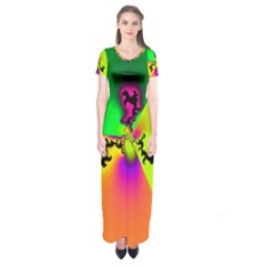 Creation Of Color Short Sleeve Maxi Dress