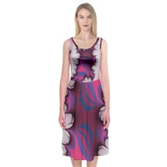 Liquid Roses Midi Sleeveless Dress