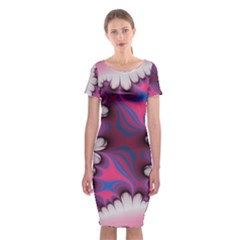 Liquid Roses Classic Short Sleeve Midi Dress