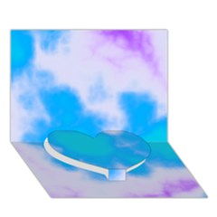 Blue And Purple Clouds Heart Bottom 3D Greeting Card (7x5)