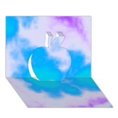 Blue And Purple Clouds Apple 3D Greeting Card (7x5)