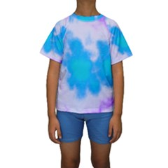 Blue And Purple Clouds Kid s Short Sleeve Swimwear