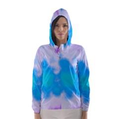Blue And Purple Clouds Hooded Wind Breaker (women)