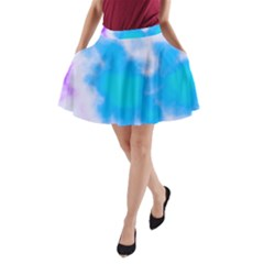 Blue And Purple Clouds A Line Pocket Skirt