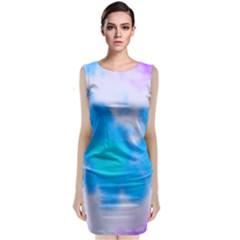 Blue And Purple Clouds Classic Sleeveless Midi Dress