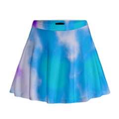 Blue And Purple Clouds Mini Flare Skirt