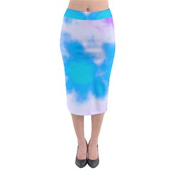 Blue And Purple Clouds Midi Pencil Skirt