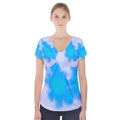 Blue And Purple Clouds Short Sleeve Front Detail Top