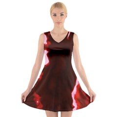 crimson sky V-Neck Sleeveless Skater Dress