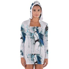 Caged Bird Women s Long Sleeve Hooded T-shirt