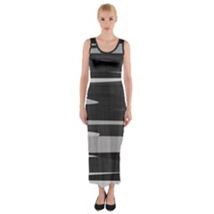 Gray Camouflage Fitted Maxi Dress