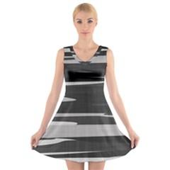 Gray Camouflage V-Neck Sleeveless Skater Dress