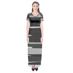 Gray Camouflage Short Sleeve Maxi Dress