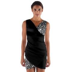 Zebra_01 Wrap Front Bodycon Dress