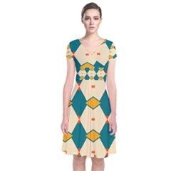 Blue yellow rhombus pattern                                                Short Sleeve Front Wrap Dress