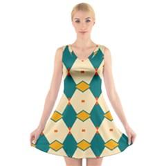 Blue Yellow Rhombus Pattern                                                                             V Neck Sleeveless Dress