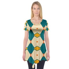 Blue Yellow Rhombus Pattern          Short Sleeve Tunic