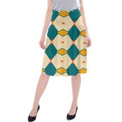 Blue yellow rhombus pattern                     Midi Beach Skirt
