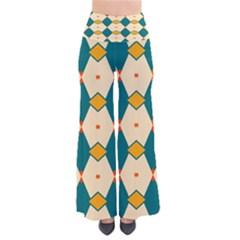 Blue yellow rhombus pattern                                                                Women s Chic Palazzo Pants
