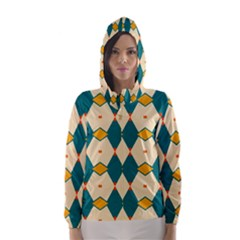 Blue Yellow Rhombus Pattern                                                                                 Hooded Wind Breaker (women)
