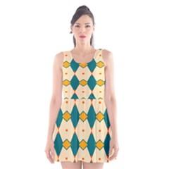 Blue Yellow Rhombus Pattern                                                                                 Scoop Neck Skater Dress