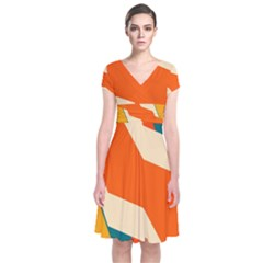 Shapes In Retro Colors                                                 Short Sleeve Front Wrap Dress