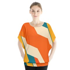 Shapes in retro colors        Batwing Chiffon Blouse