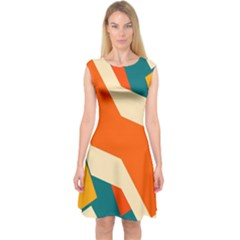 Shapes In Retro Colors                Capsleeve Midi Dress