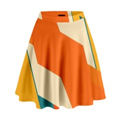 Shapes In Retro Colors                                                                                    High Waist Skirt