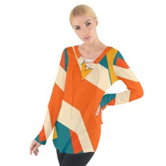 Shapes In Retro Colors                                                                                   Women s Tie Up Tee
