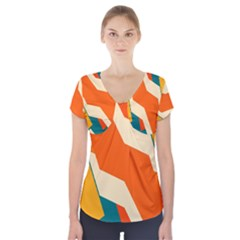 Shapes In Retro Colors                   Short Sleeve Front Detail Top