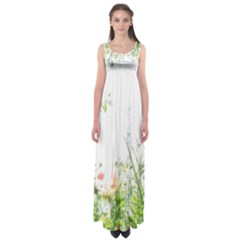 Carrot Flowers Empire Waist Maxi Dress