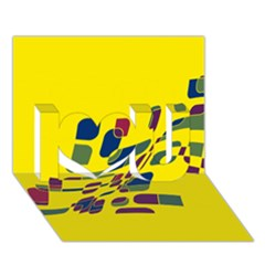 Yellow abstraction I Love You 3D Greeting Card (7x5)