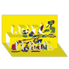 Yellow abstraction Best Friends 3D Greeting Card (8x4)
